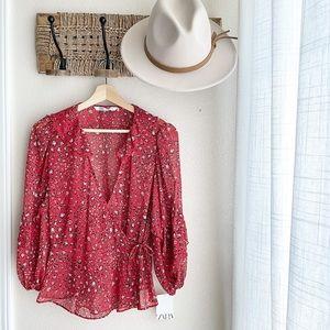 NWT Zara Floral Sheer Wrap Blouse Size M